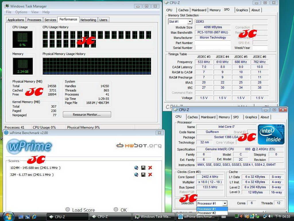 Gulftown in CPU-Z und wPrime