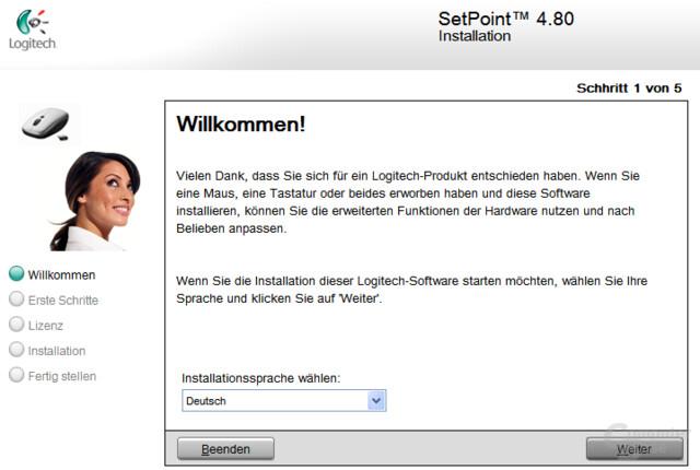 Logitech SetPoint Installation - Willkommen