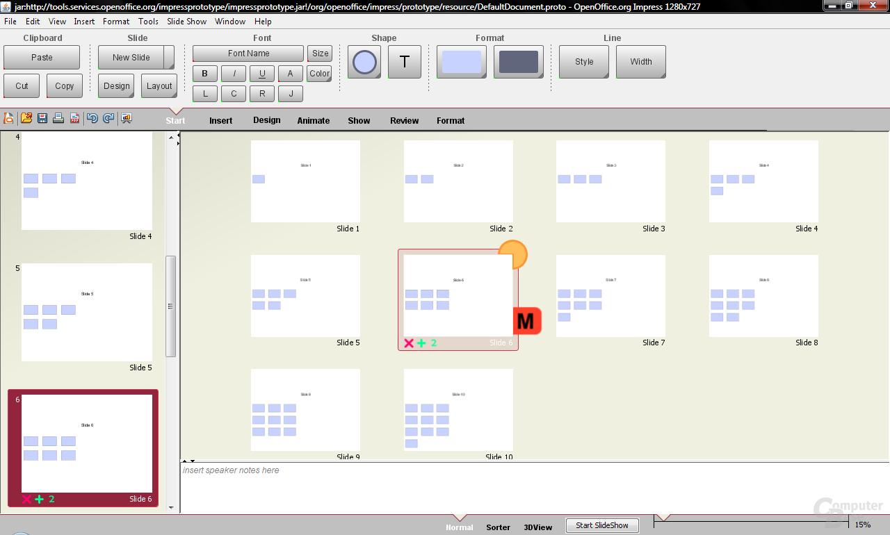 Renaissance-Test OpenOffice.org - Ansicht