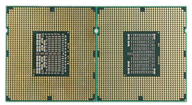 Intel Gulftown (re) im Vergleich zum Bloomfield (li)
