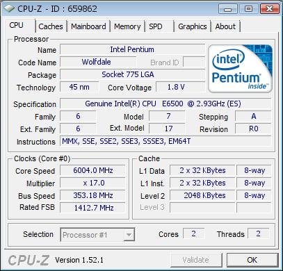 Intel Pentium 6500K bei über 6 GHz