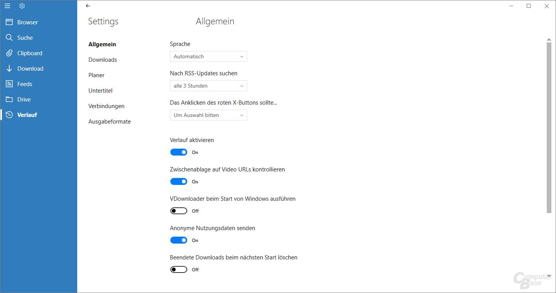 VDownloader – Einstellungen