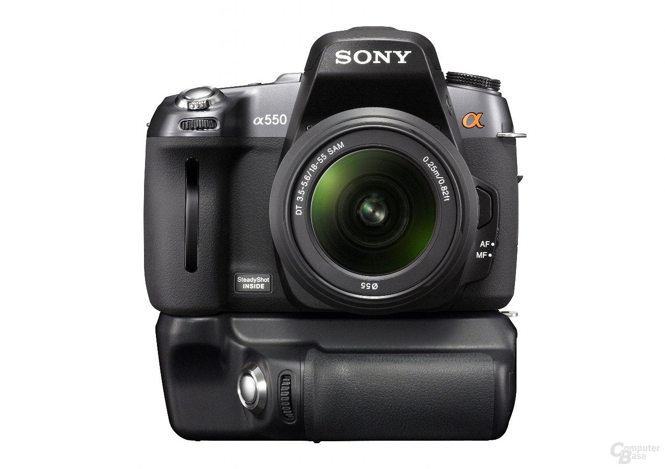Sony Alpha 550 mit Batteriegriff