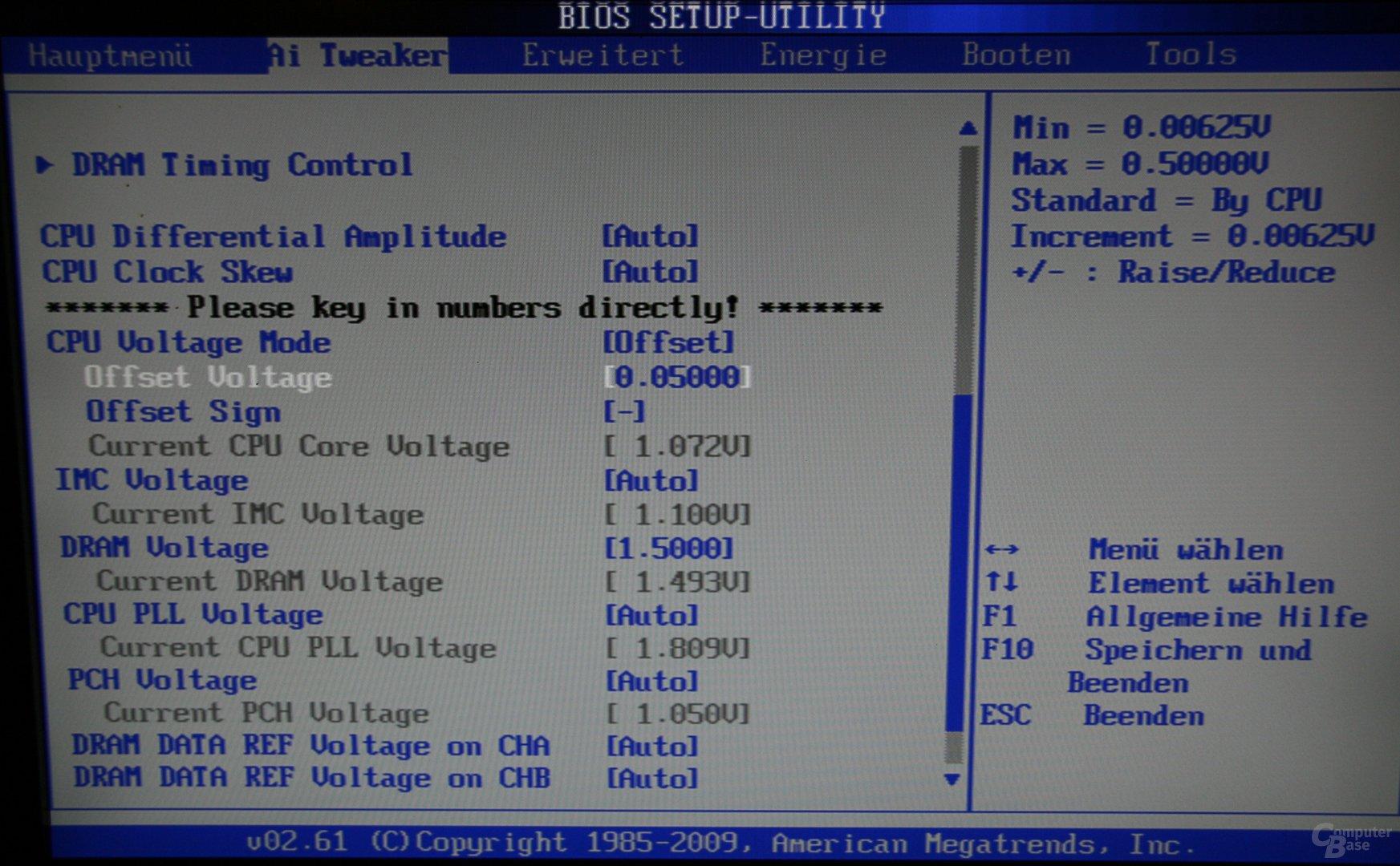 Offset-Spannungsveränderung im BIOS
