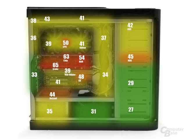 Wärmediagramm der Oberflächentemperaturen