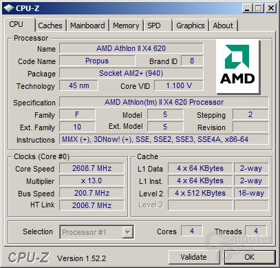 Athlon II X4 620 bei 1,1 Volt