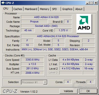 Athlon II X4 620 bei 3,4 GHz
