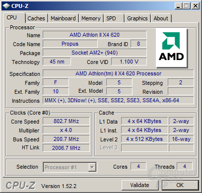 Athlon II X4 620 im Idle