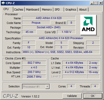 Athlon II X4 620 im Idle