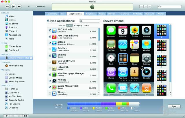 Synchronisation unter iTunes 9