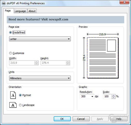 Page Properties window