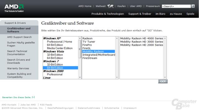 AMD-Seite für Mobile-Grafiktreiber