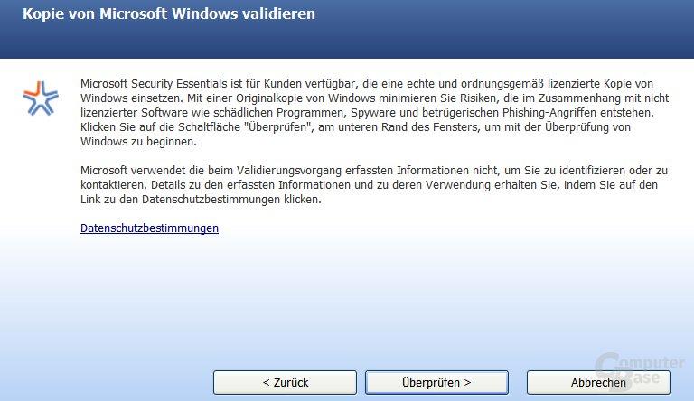 Kopie von Microsoft Windows validieren