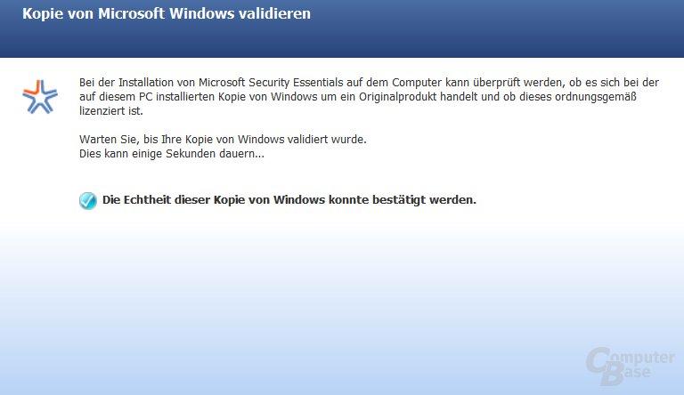 Echtheit der Kopie von Windows bestätigt