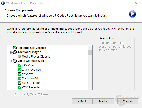 Windows 7 Codec Pack – Choose Components