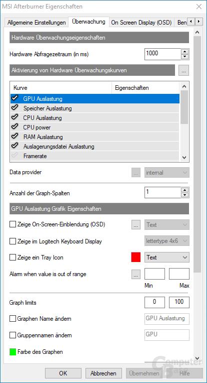 In den Einstellungen des Afterburner-Programms kann man festlegen, welche Werte per Overlay in Spielen angezeigt werden sollen.
