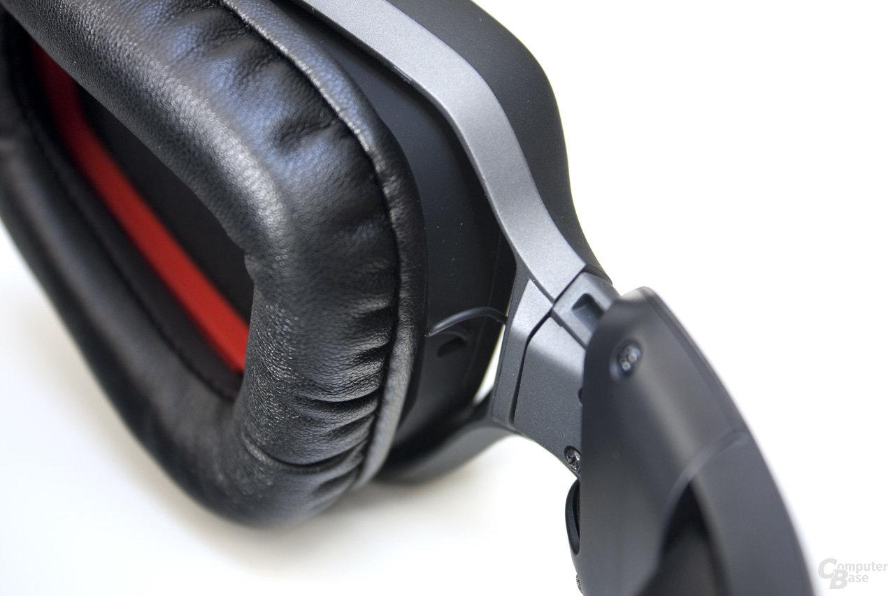 solide Verbindung des Kopfbügels mit den Ohrmuscheln