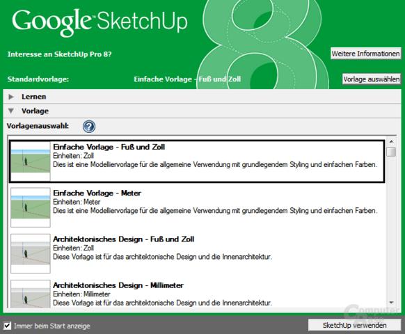 Google SketchUp 8 – Vorlagenauswahl