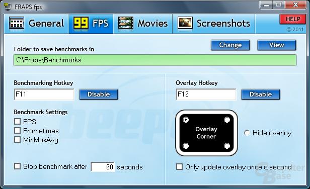 Frames Per Second: Messungen über x Sekunden, Anzeige Overlay