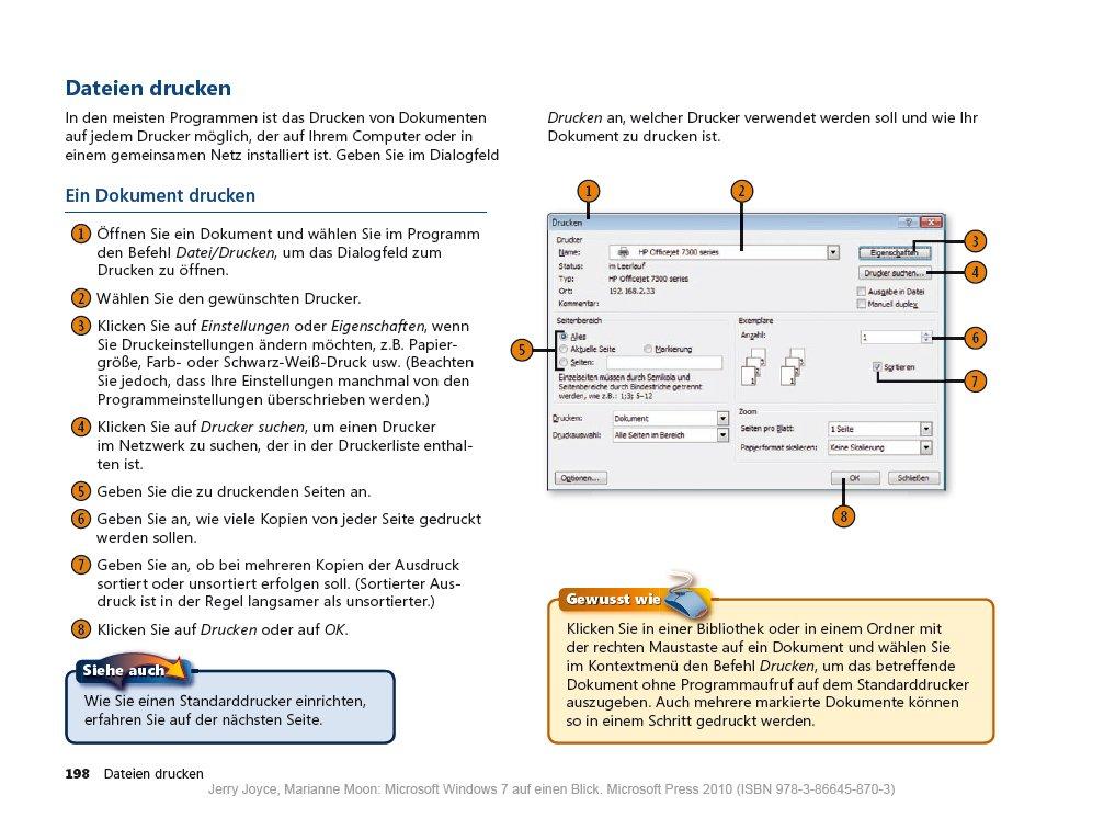 Windows 7 auf einen Blick: Drucken (S. 198)