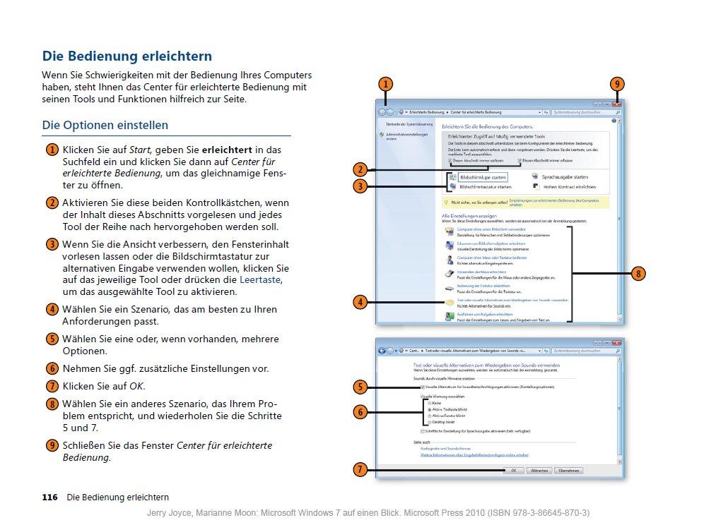 Windows 7 auf einen Blick: Bedienung erleichtern (S. 116)