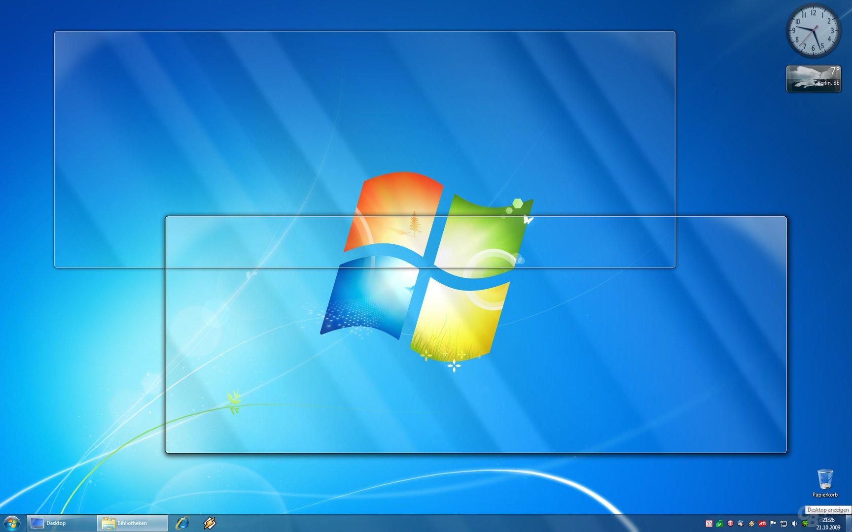 Desktop anzeigen per Aero Peek (rechte untere Ecke)