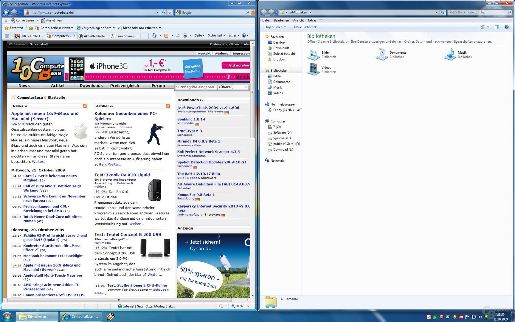 Geteilter Bildschirm (Fenster an den Seitenrand ziehen)