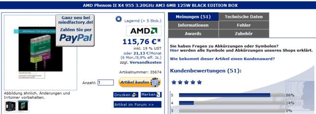 AMD Phenom II X4 955 Black Edition für keine 116 Euro
