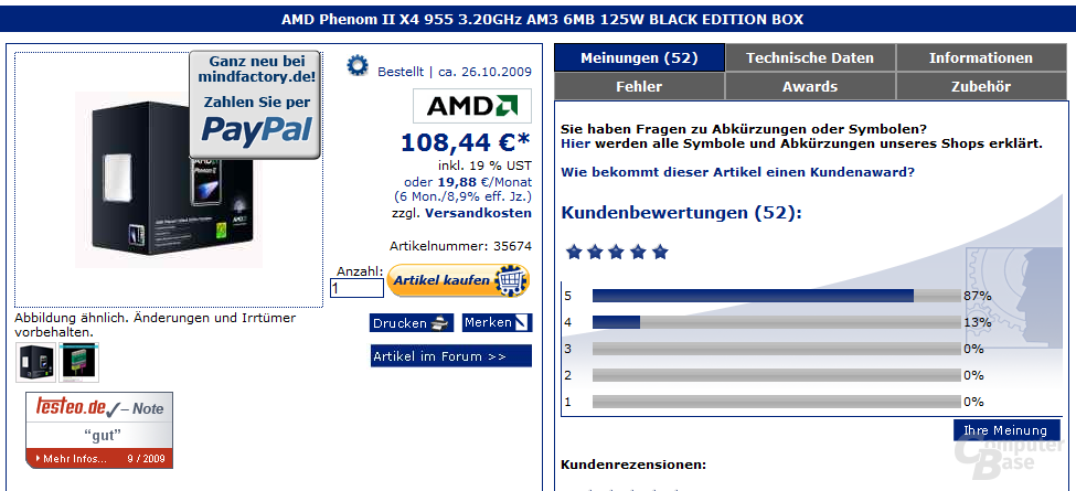 AMD Phenom II X4 955 Black Edition für 108 Euro