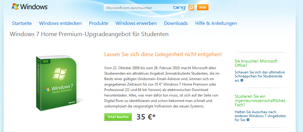 Windows 7 Studentenangebot