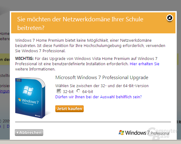 Win 7 Professional-Upgrade: Klick 2