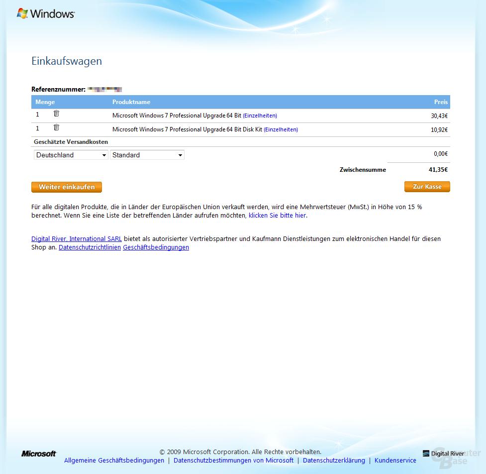 Win 7 Professional x64 Upgrade + DVD im Warenkorb (ohne MwSt.)