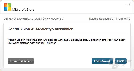 Entscheidung zwischen USB- und DVD-Medium