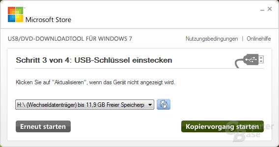 Auswahl des Laufwerks (USB)