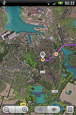 Google Maps unter Android 1.5: Satelliten-Ansicht (Berlin nach Wismar)