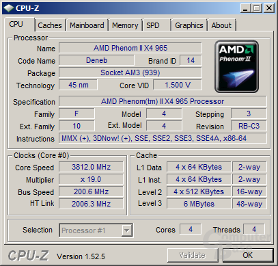 AMD Phenom II X4 965 (C3-Stepping) bei 3,8 GHz