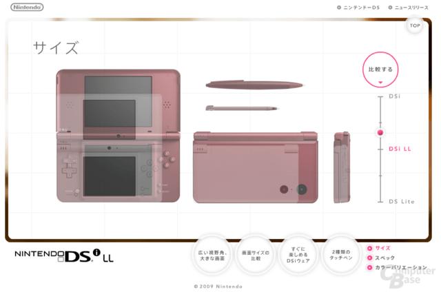 Nintendo DSi LL im Größenvergleich