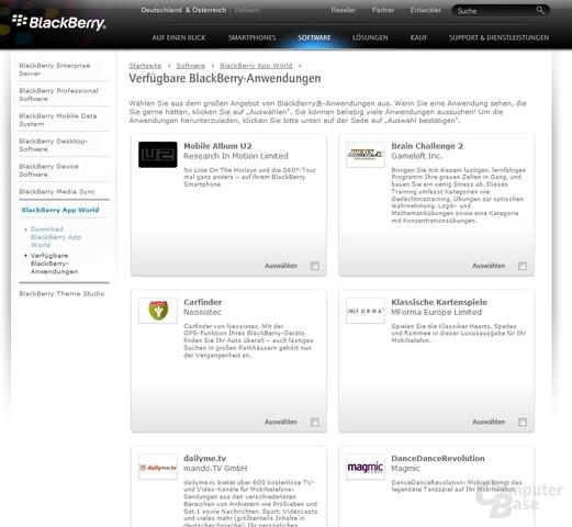 Die App World von RIM bietet diverse Software