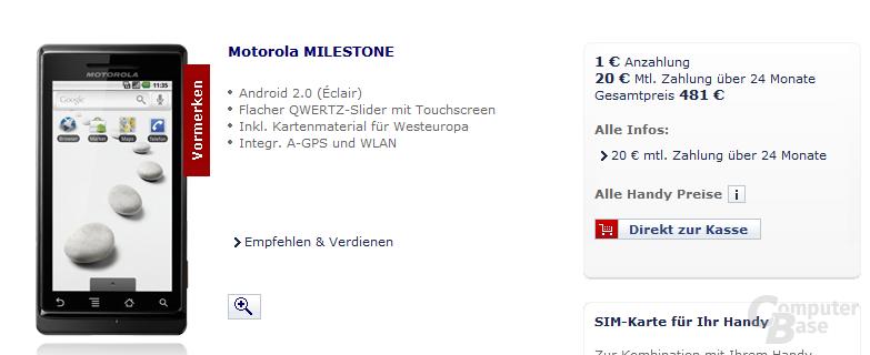Motorola Milestone im O2-Shop