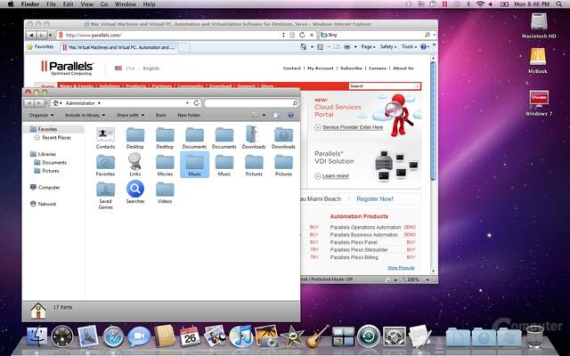 Windows-Anwendungen im Mac-Look unter Parallels Desktop 5 für Mac