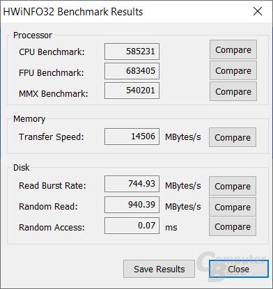 HWiNFO bietet ausschließlich in der 32-Bit Variante auch einen System-Benchmark.