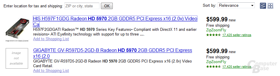 ATi Radeon HD 5970 in US-Shops gelistet