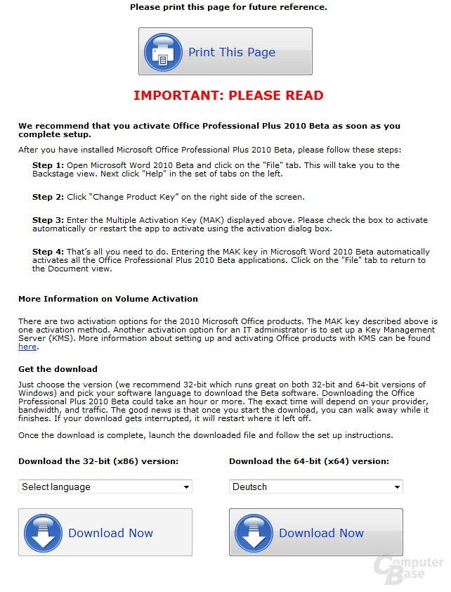 Download-Auswahl und Ausgabe des Lizenzschlüssels (nicht im Bild)