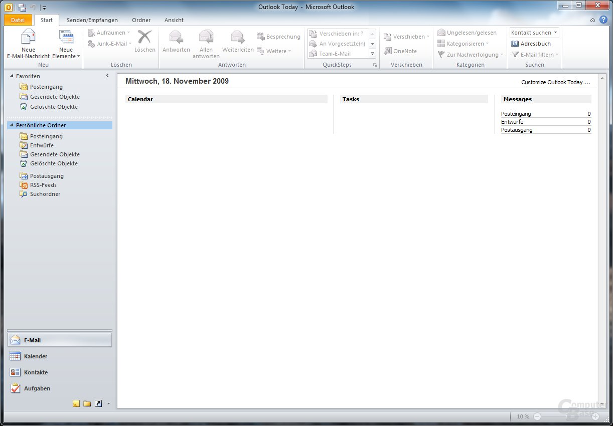 Outlook 2010 – Outlook Today