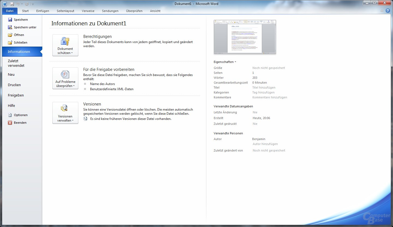 Word 2010 – Dateimenü