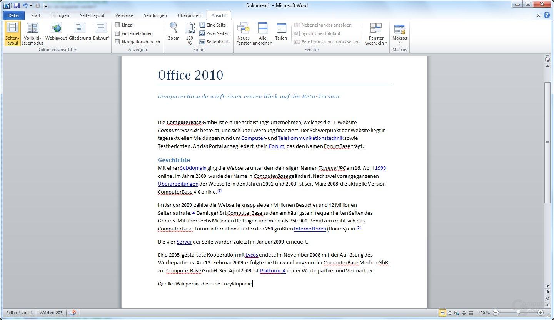 Word 2010 – Seitenlayout