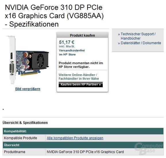 Nvidia GeForce 310 mit DisplayPort für 51 Euro