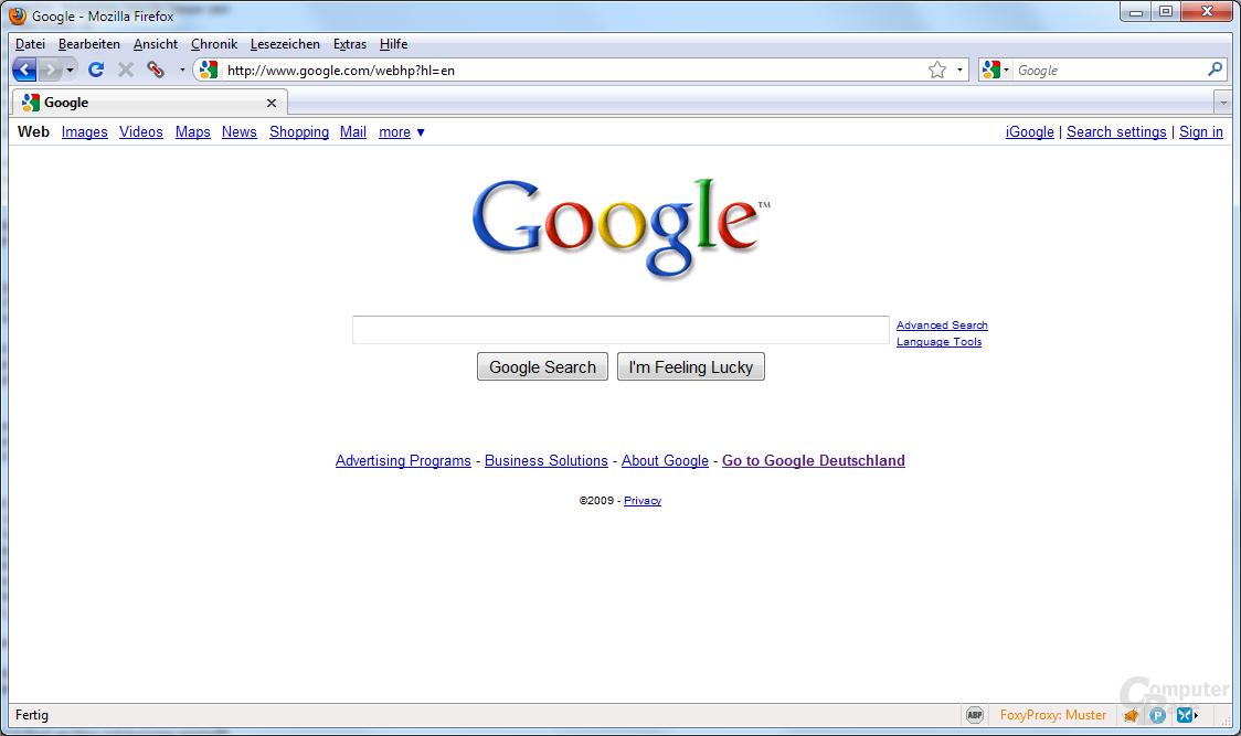 Derzeitige Google-Startseite