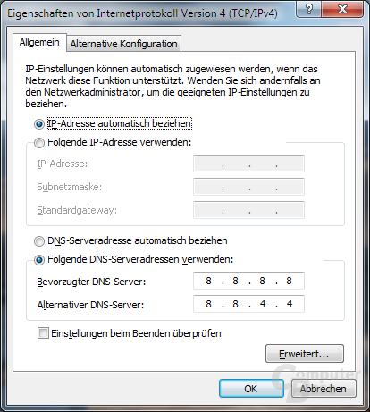 Google DNS: Schritt 4 (Windows 7)