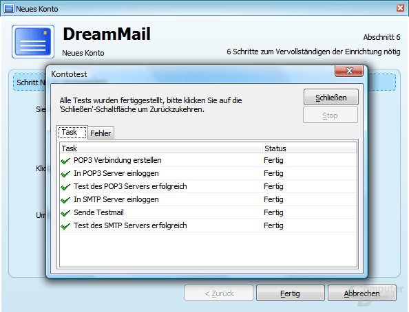 DreamMail - Neues Konto